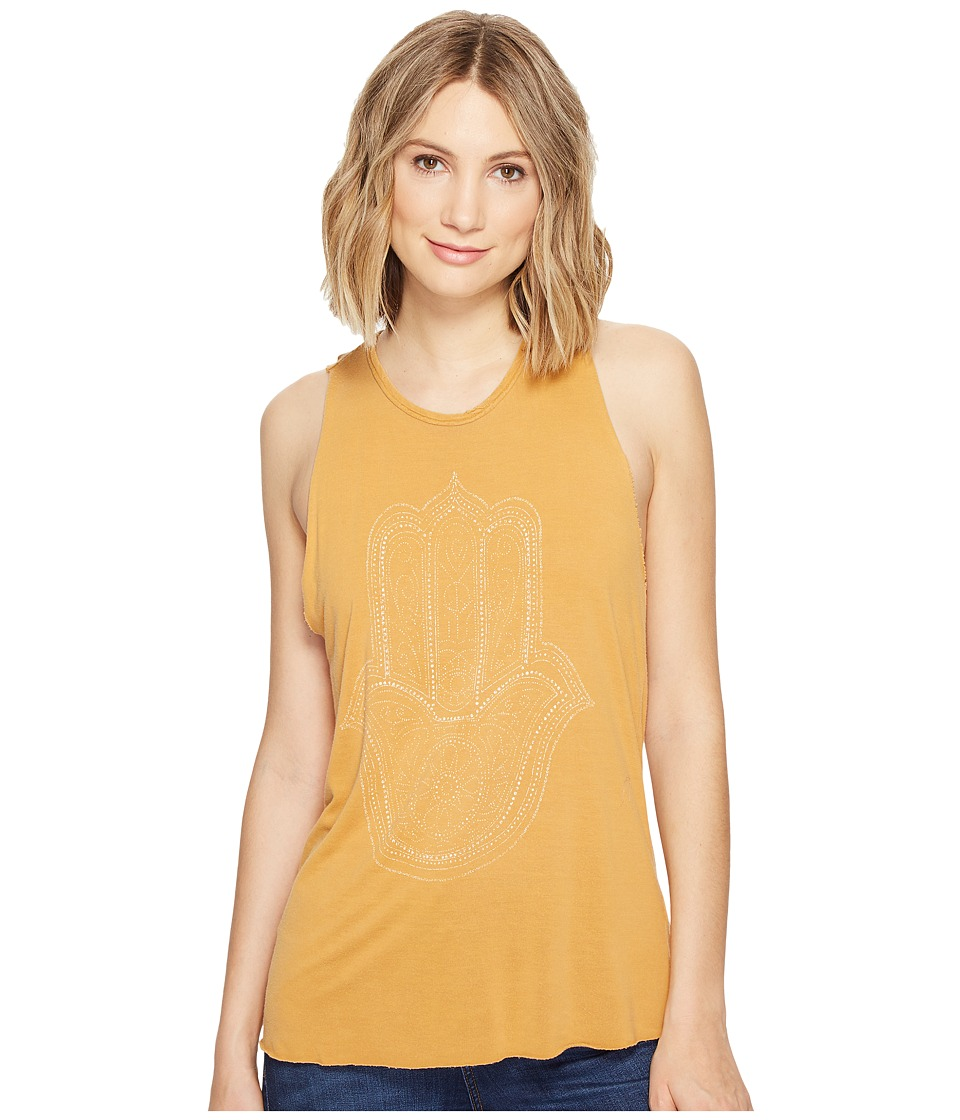 Project Social T - Hamsa Hand Tank Top (Pigment Washed Golden Nugget) Women's Sleeveless