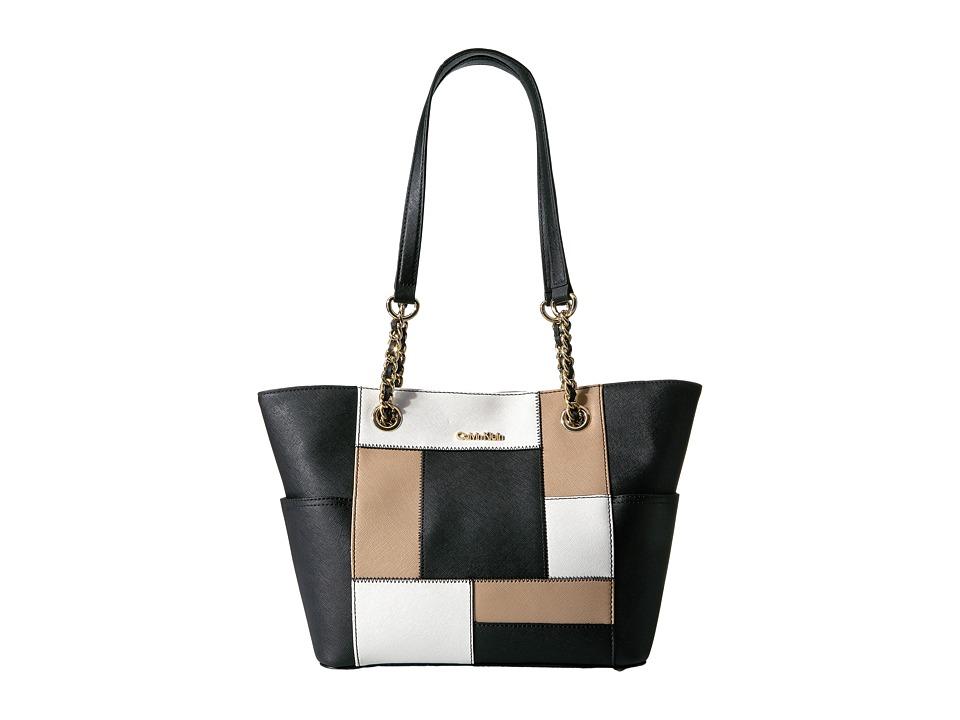 Calvin Klein - Key Item Saffiano Tote (Black/White/Nude Patchwork) Tote Handbags
