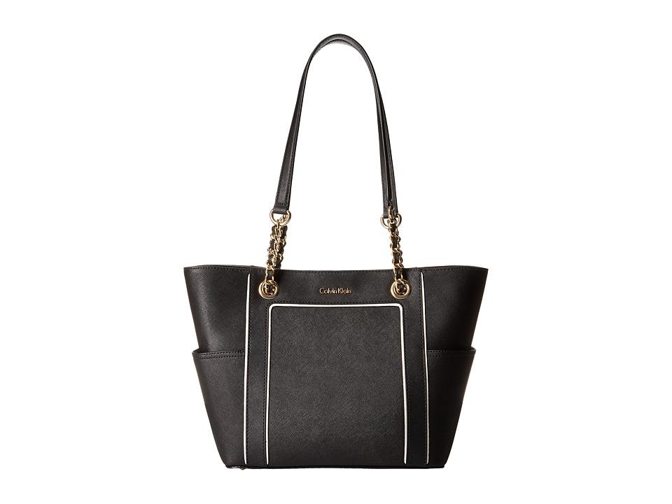 Calvin Klein - Key Item Saffiano Tote (White/Black Piping) Tote Handbags
