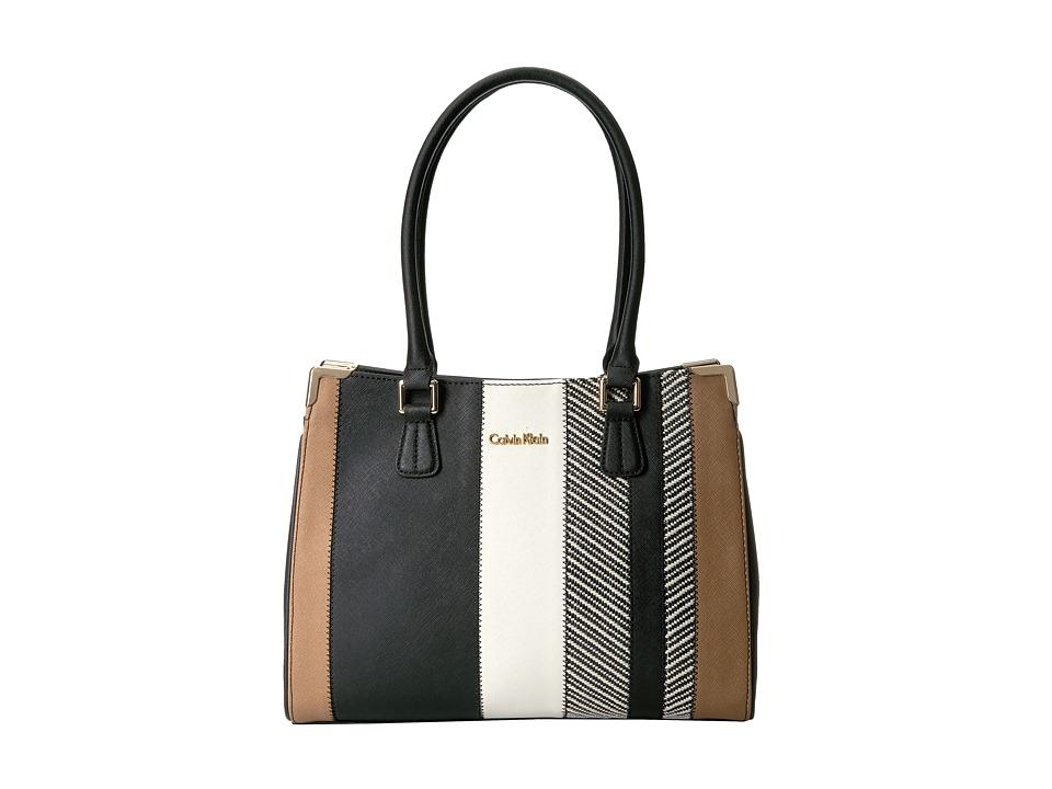 Calvin Klein - On My Corner Saffiano/Raffia Tote (Raffia Stripe Combo) Tote Handbags