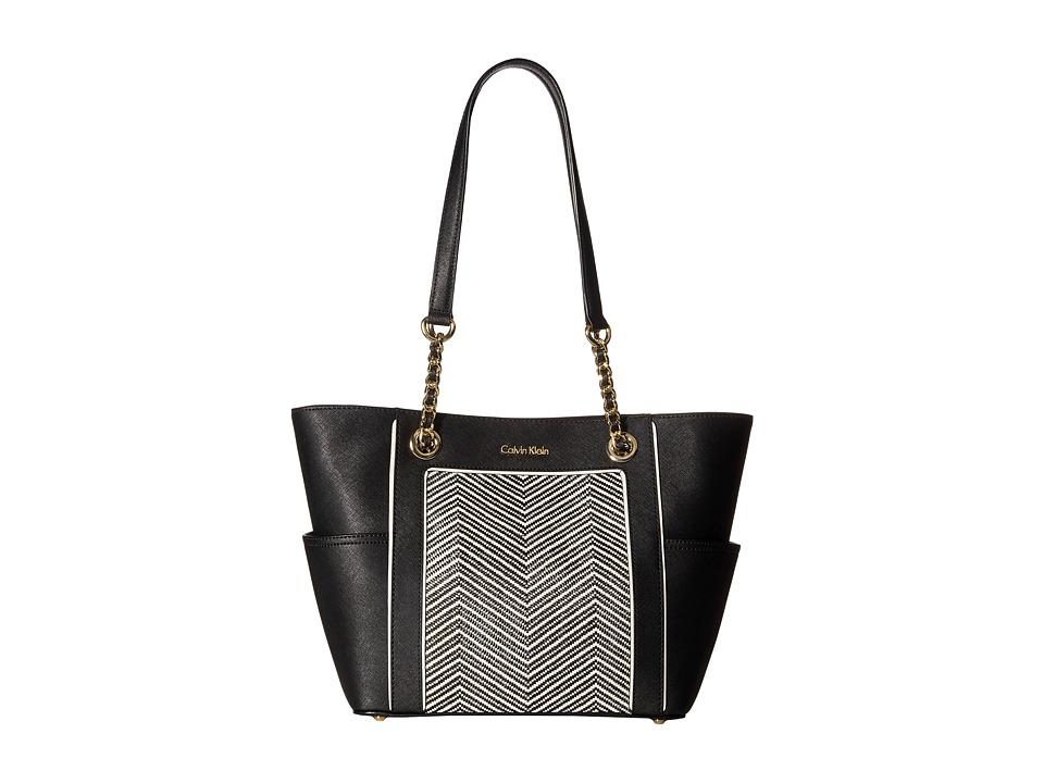 Calvin Klein - Key Item Totes Saffiano/Raffia Tote (Black/White Chevron) Tote Handbags