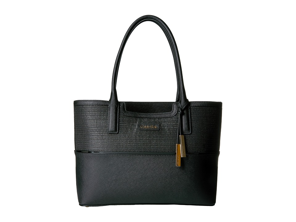 Calvin Klein - Key Item Totes Raffia/Saffiano Tote (Black Raffia) Tote Handbags