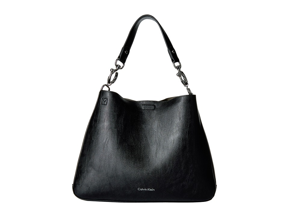 Calvin Klein - Unlined Jetlink Hobo (Black/Grey) Hobo Handbags