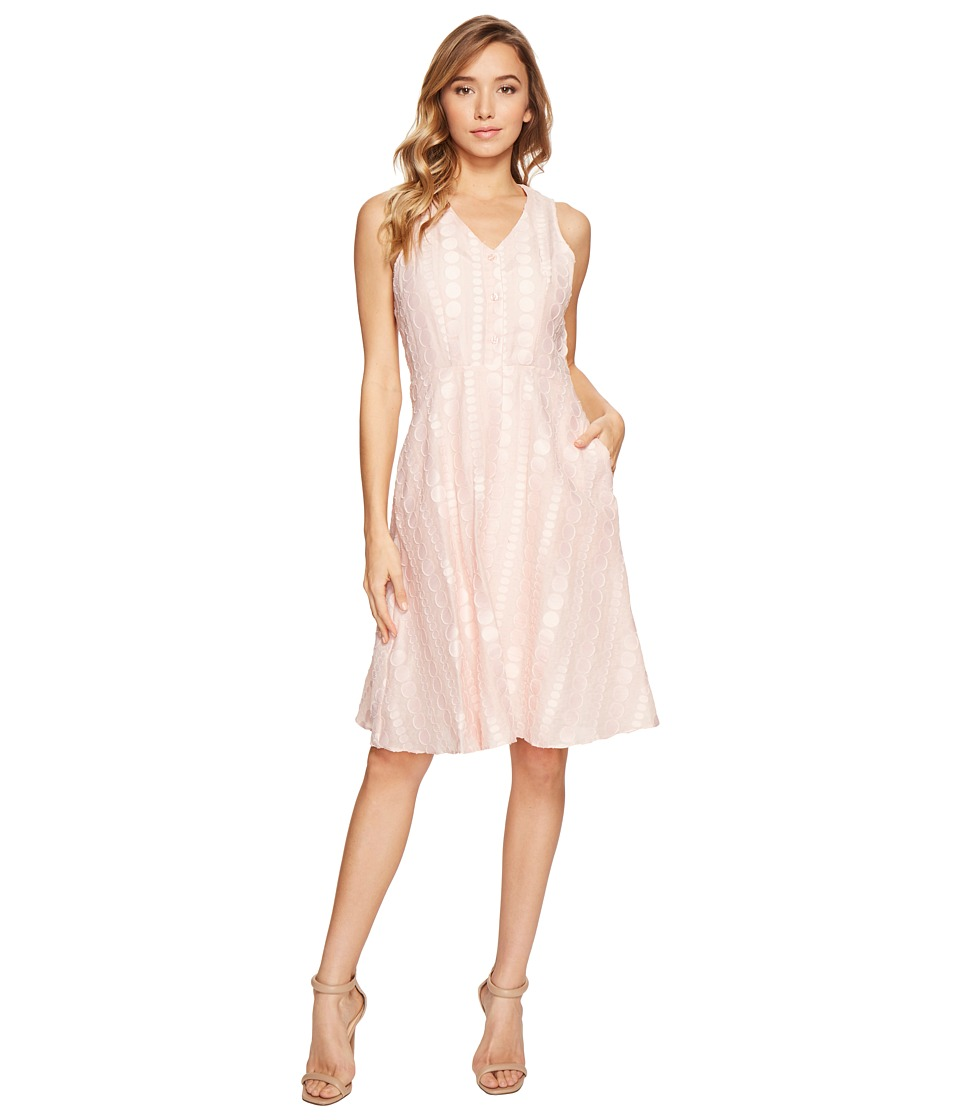 Donna Morgan - V-Neck Dot Burnout Jacquard Fit and Flare Shirt Dress (Petal Pink) Women's Dress