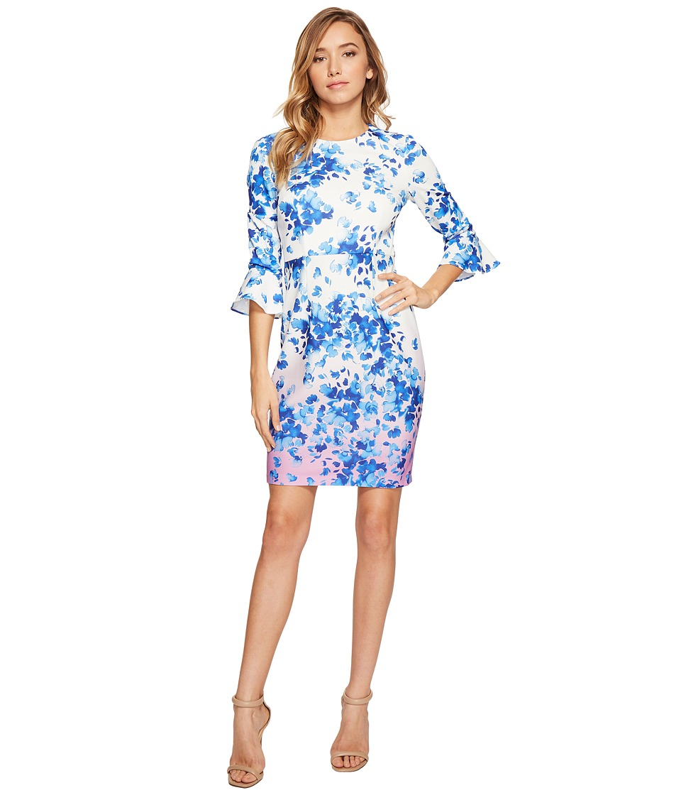 Donna Morgan - 3/4 Sleeve Bell Sleeve Sheath Dress (Whitecap Grey/Hydrangea/Navy Multi) Women's Dress