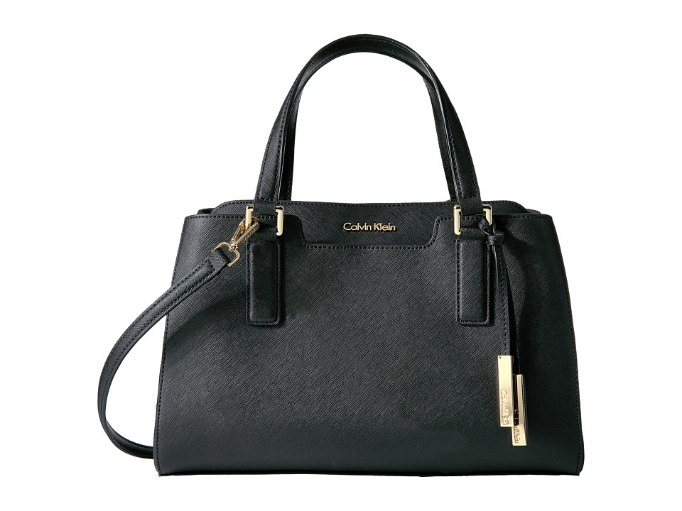Calvin Klein - On My Corner Saffiano Satchel (Black/Gold) Satchel Handbags