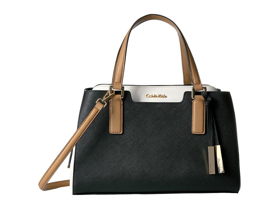 Calvin Klein - On My Corner Saffiano Satchel (Black/White/Cashew) Satchel Handbags