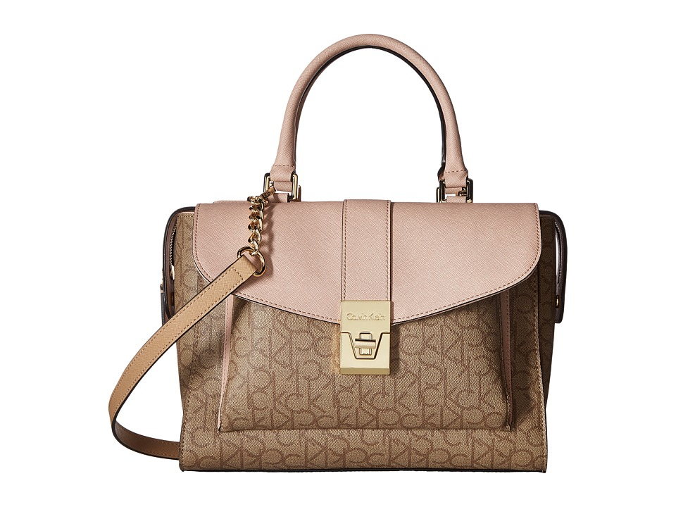 Calvin Klein - Alexis Monogram Satchel (Text Khaki/Brown Sugarplum) Satchel Handbags