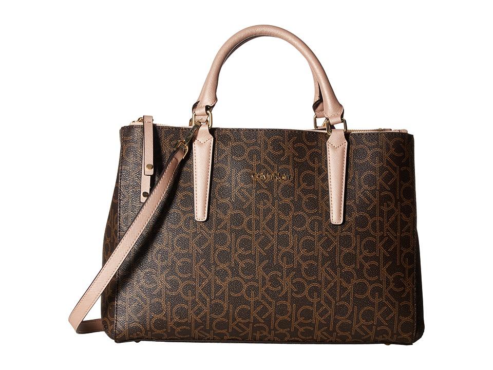 Calvin Klein - Hudson Monogram Satchel (Brown/Khaki/Rose Gold) Satchel Handbags
