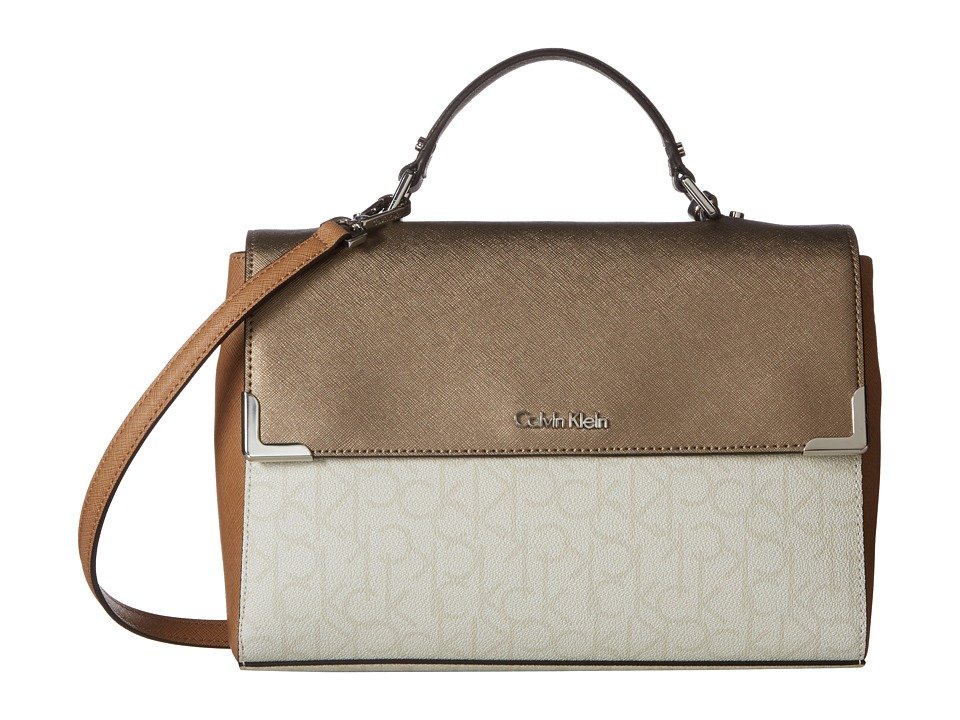 Calvin Klein - Hudson Monogram Satchel (Dove Grey Combo) Satchel Handbags