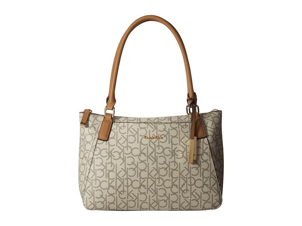 Calvin Klein - Hudson Monogram Satchel (Almond/Khaki/Cashew) Satchel Handbags