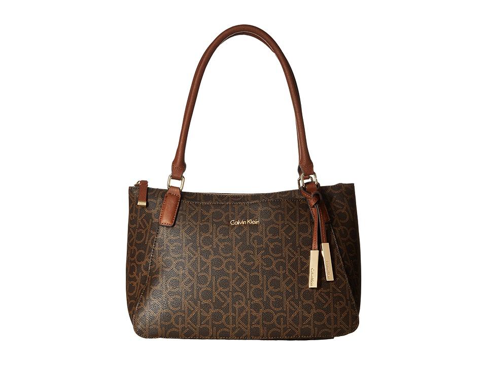 Calvin Klein - Hudson Monogram Satchel (Brown/Khaki/Luggage) Satchel Handbags