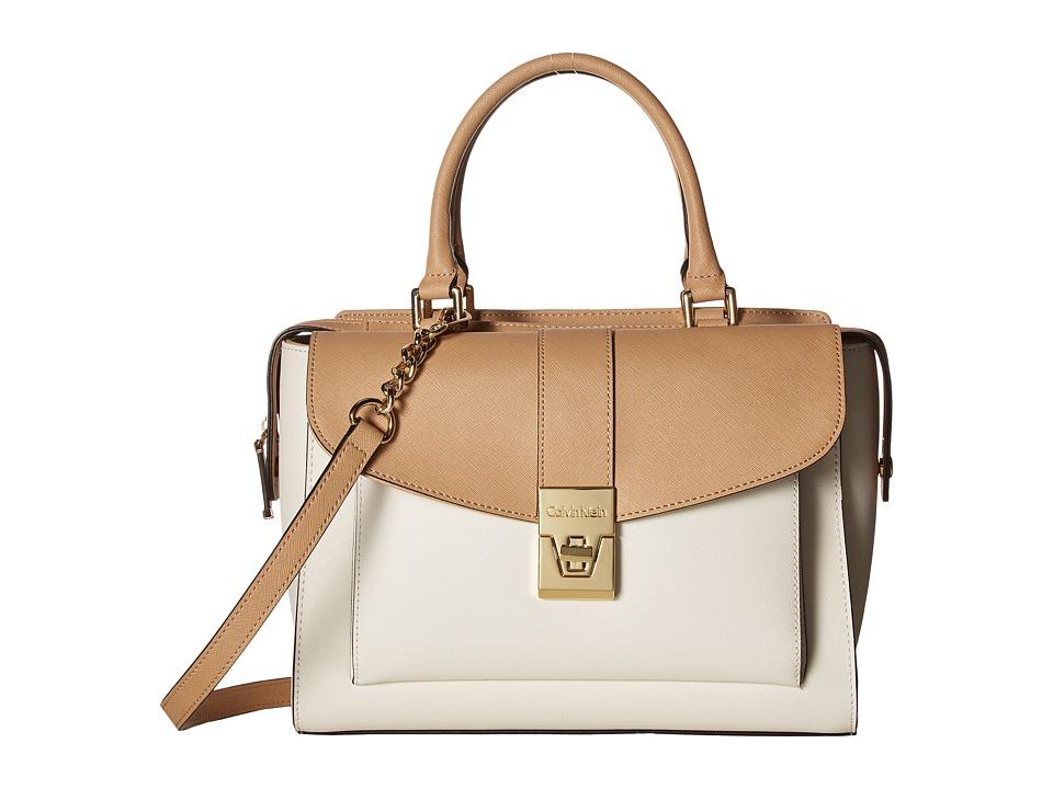 Calvin Klein - Alexis Saffiano Satchel (White/Nude) Satchel Handbags