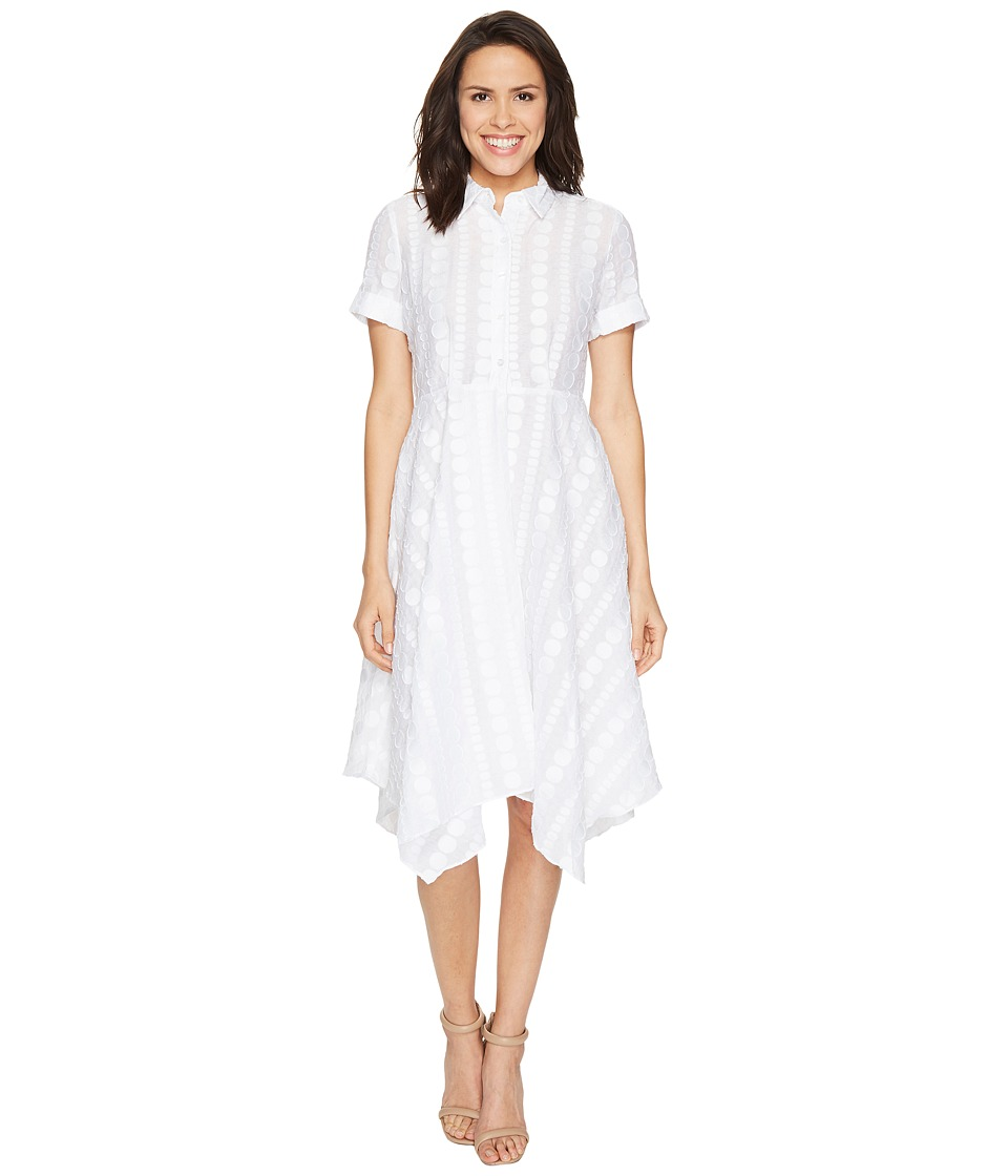 Donna Morgan - Dot Burnout Jacqquard Shirt Dress with Handkerchief Hem Skirt (White) Women's Dress