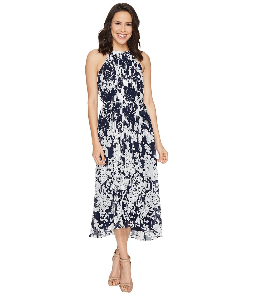 Donna Morgan - Chiffon Pleated Midi Dress (Marine Navy/Whitecap Grey Multi) Women's Dress