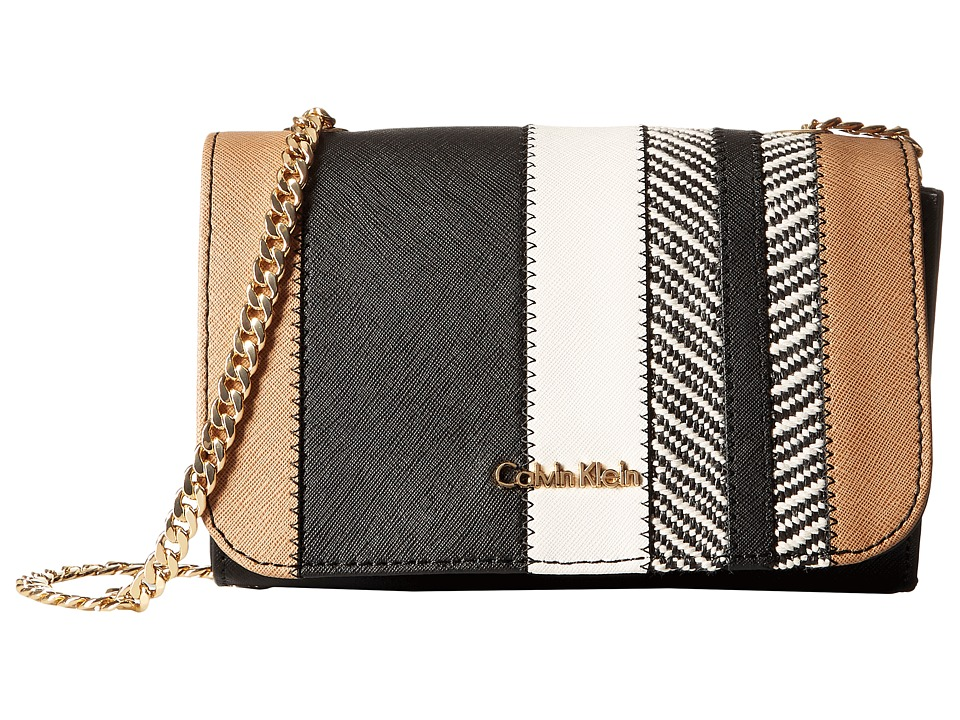 Calvin Klein - On My Corner Saffiano/Raffia Crossbody (Raffia Stripe Combo) Cross Body Handbags