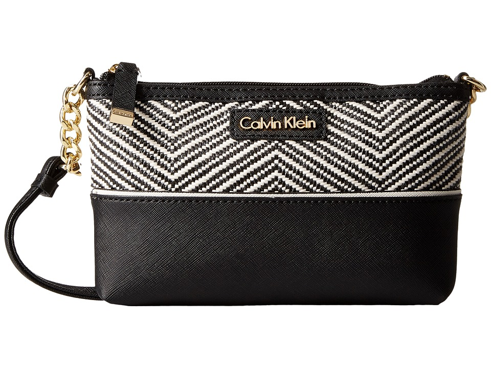Calvin Klein - On My Corner Raffia Crossbody (Black/White Chevron) Cross Body Handbags