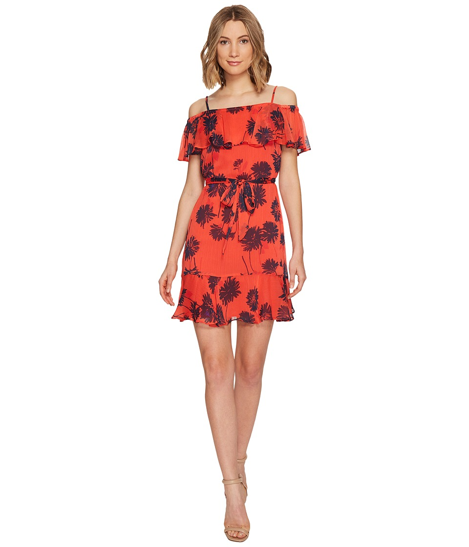 Donna Morgan - Belted Trapeze Dress with Ruffle Cold Shoulder (Tea Rose Red/Marine Navy Mujlti) Women's Dress