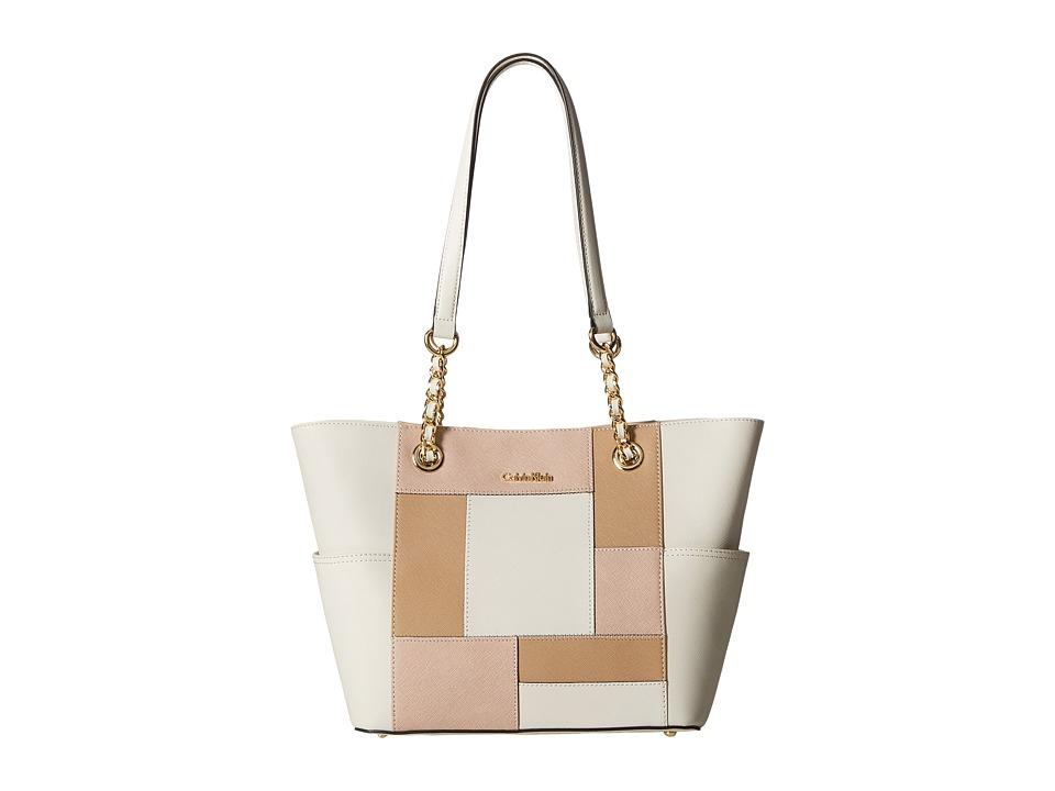 Calvin Klein - Key Item Saffiano Tote (White/Sugarplum/Nude Patchwork) Tote Handbags