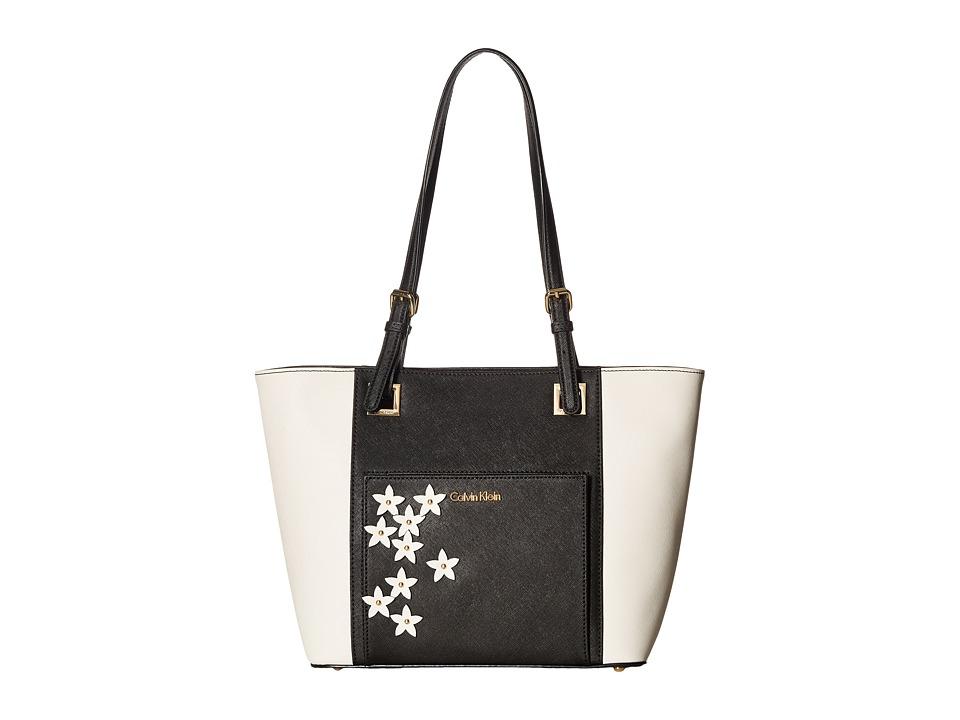 Calvin Klein - Eliza Saffiano Tote (Black/White Flower) Tote Handbags