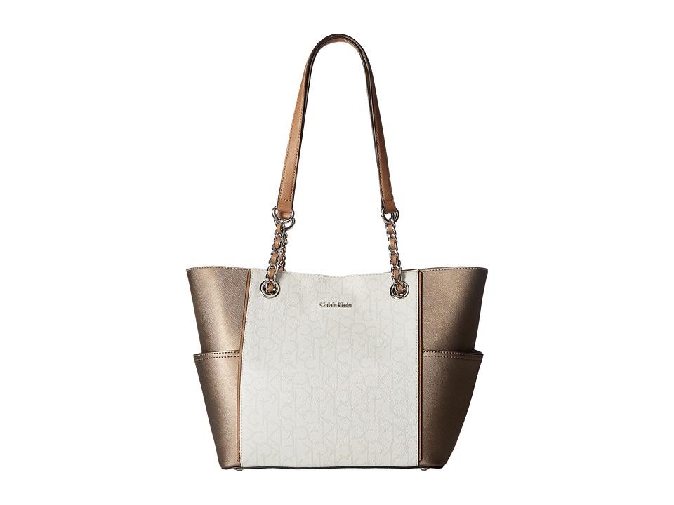 Calvin Klein - Monogram Chain Tote (Dove Grey Combo) Tote Handbags