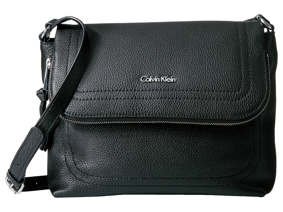 Calvin Klein - Classic Pebble Pebble Messenger (Black/Silver) Messenger Bags