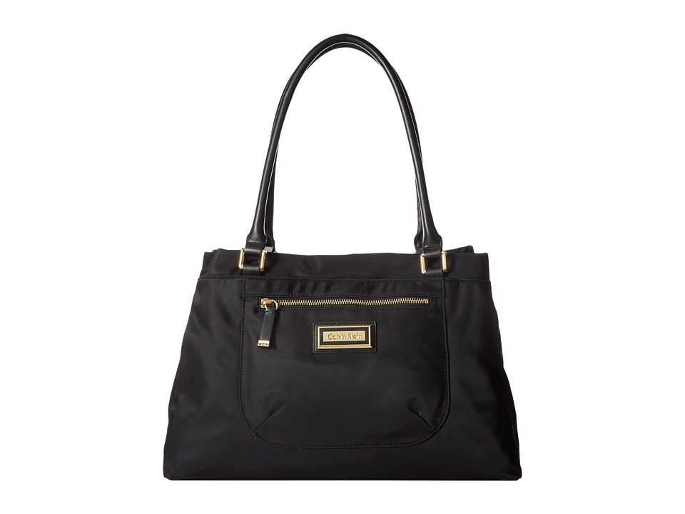 Calvin Klein - Belfast Dressy Nylon Shopper (Black/Gold) Handbags