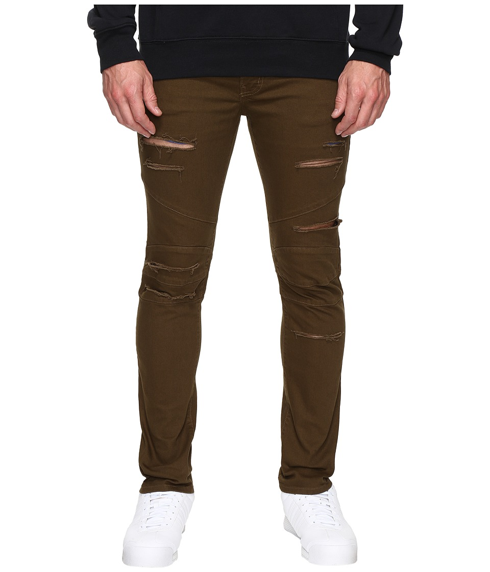 Rustic Dime - Shredded Biker Denim in Olive (Olive) Men's Jeans