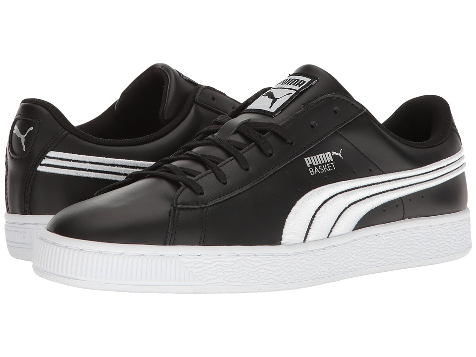 PUMA - Basket Classic Badge (Puma Black/Puma Silver) Men's Shoes