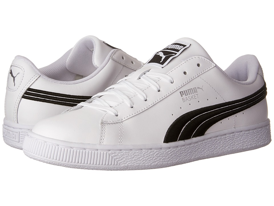 PUMA - Basket Classic Badge (Puma White/Puma Black) Men's Shoes