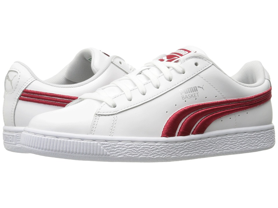 PUMA - Basket Classic Badge (PUMA White/Barbados Cherry) Men's Shoes