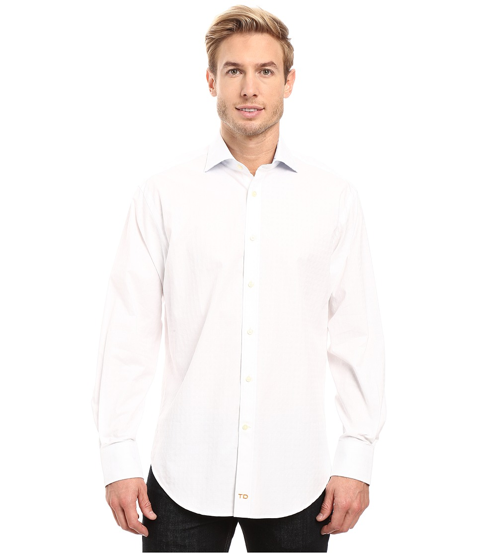 Thomas Dean & Co. - Long Sleeve Jacquard Check Sport Shirt (White) Men's Clothing