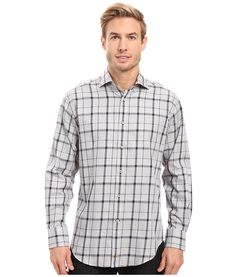 Thomas Dean & Co. - Long Sleeve Big Check Sport Shirt (Grey) Men's Clothing