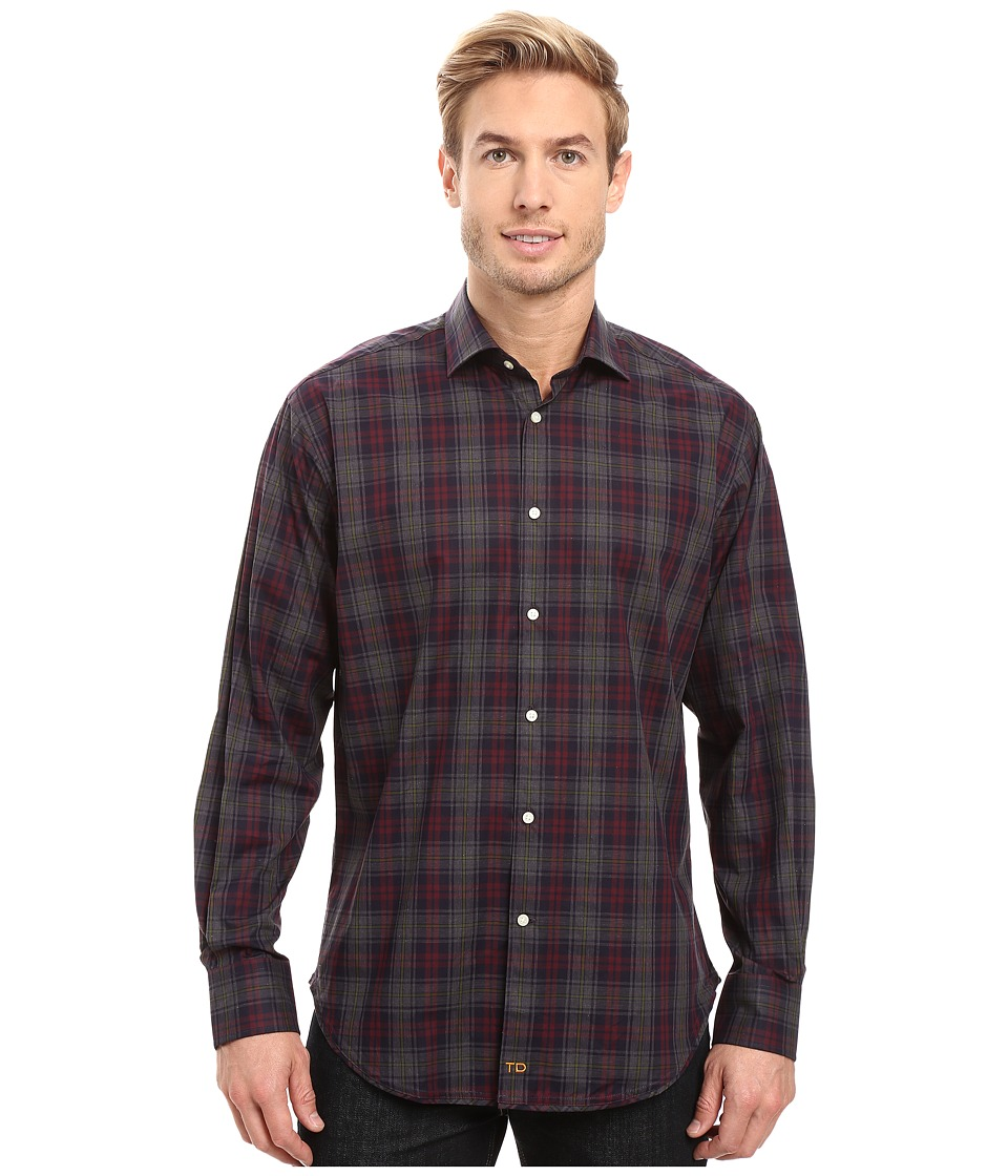 Thomas Dean & Co. - One-Button Modern Spread Collar (Charcoal) Men's Clothing