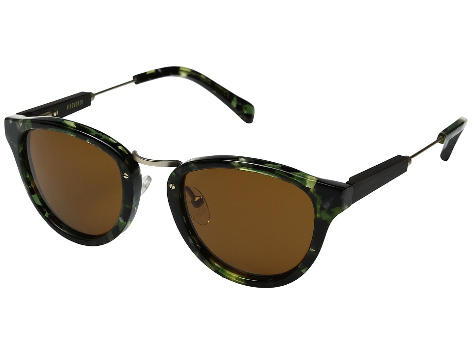 Shwood - Ainsworth (Dark Forest/Matte Gold/Brown) Fashion Sunglasses