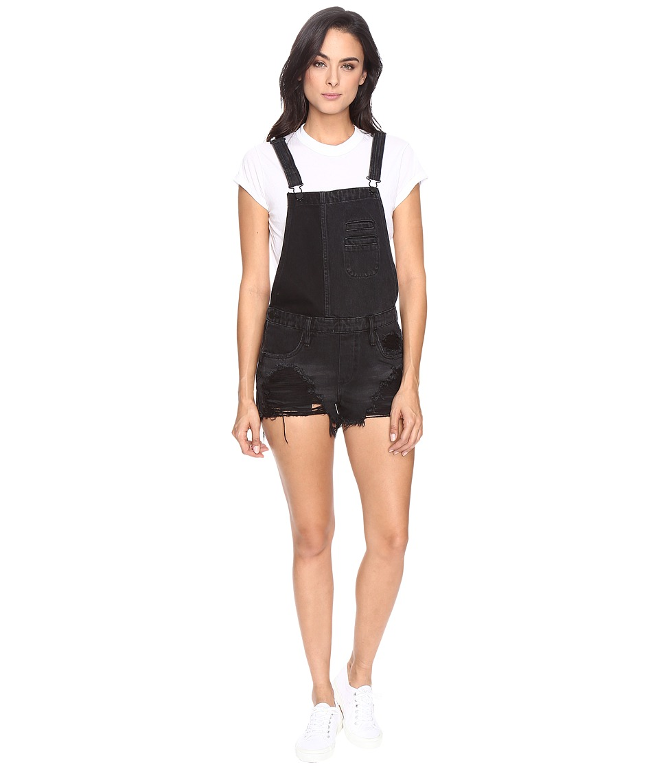 Blank NYC - Black Cut Off Overalls in Rock Steady (Rock Steady) Women's Overalls One Piece