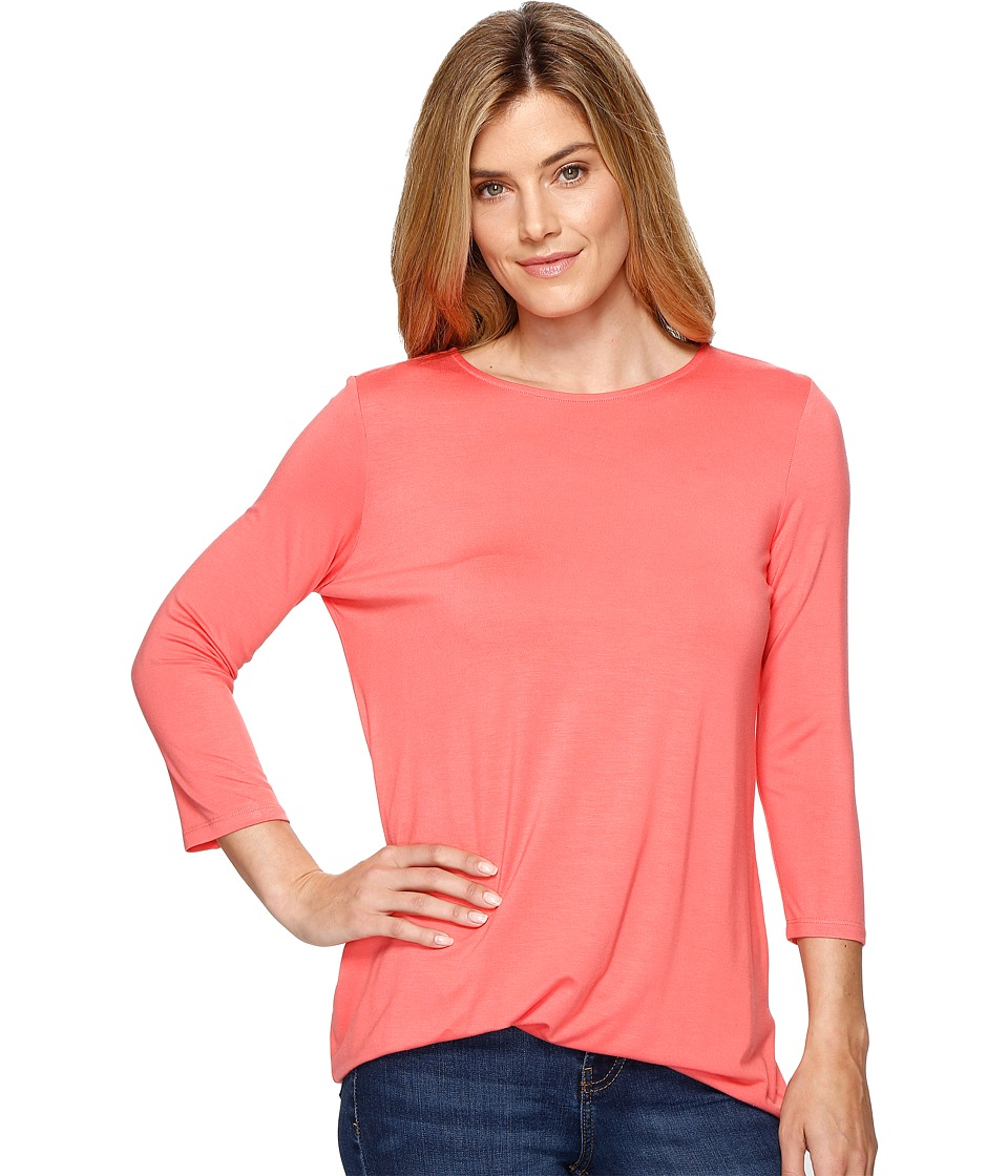 Lisette L Montreal - Siena Jersey Side Knot Top (Flamingo) Women's Long Sleeve Pullover