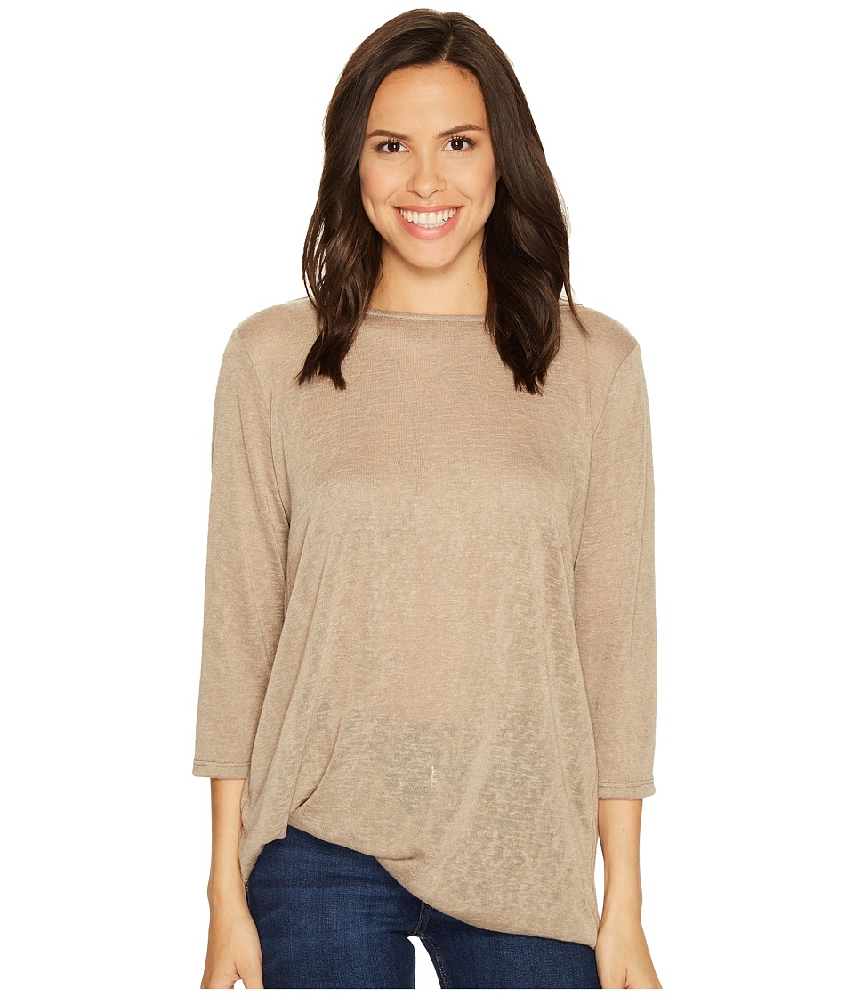 Lisette L Montreal - Linen Jersey Side Knot Top (Mushroom) Women's Long Sleeve Pullover