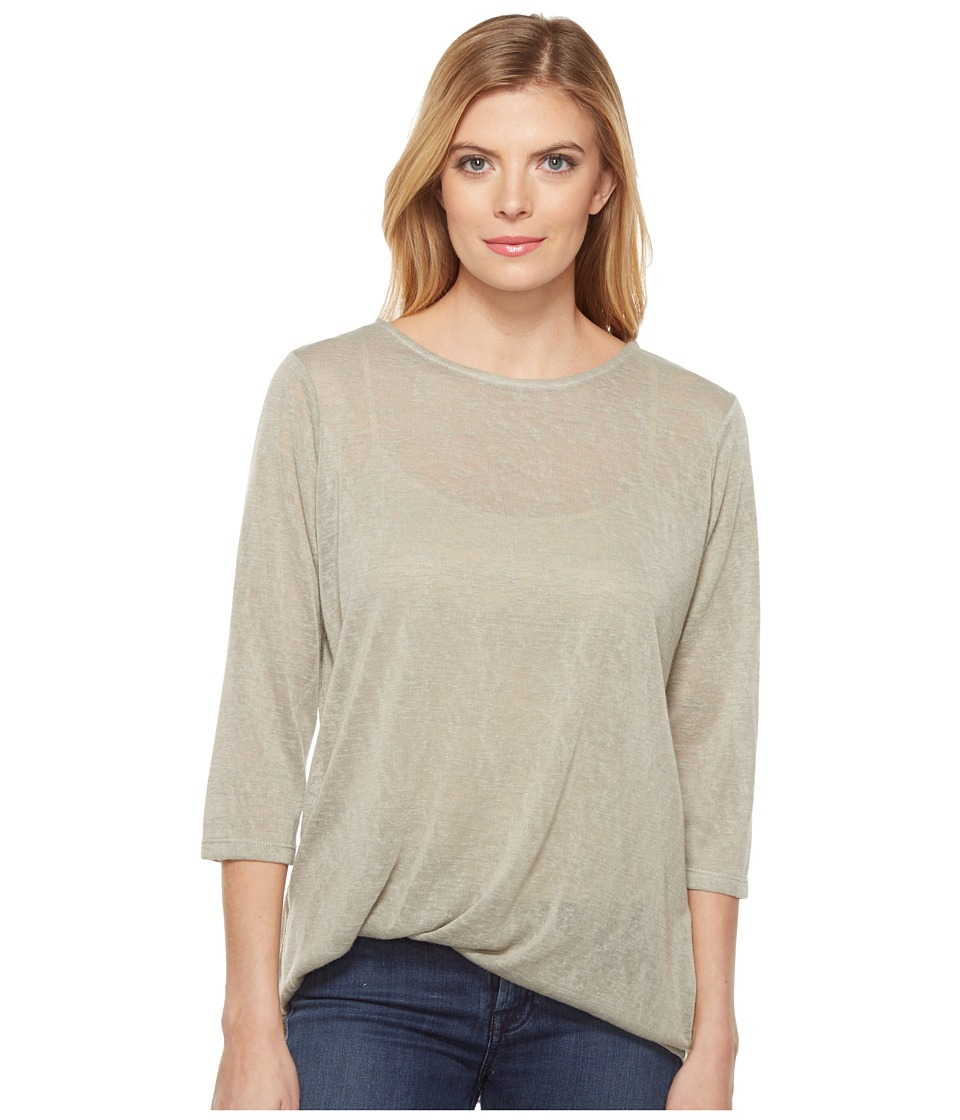 Lisette L Montreal - Linen Jersey Side Knot Top (Seagrass) Women's Long Sleeve Pullover