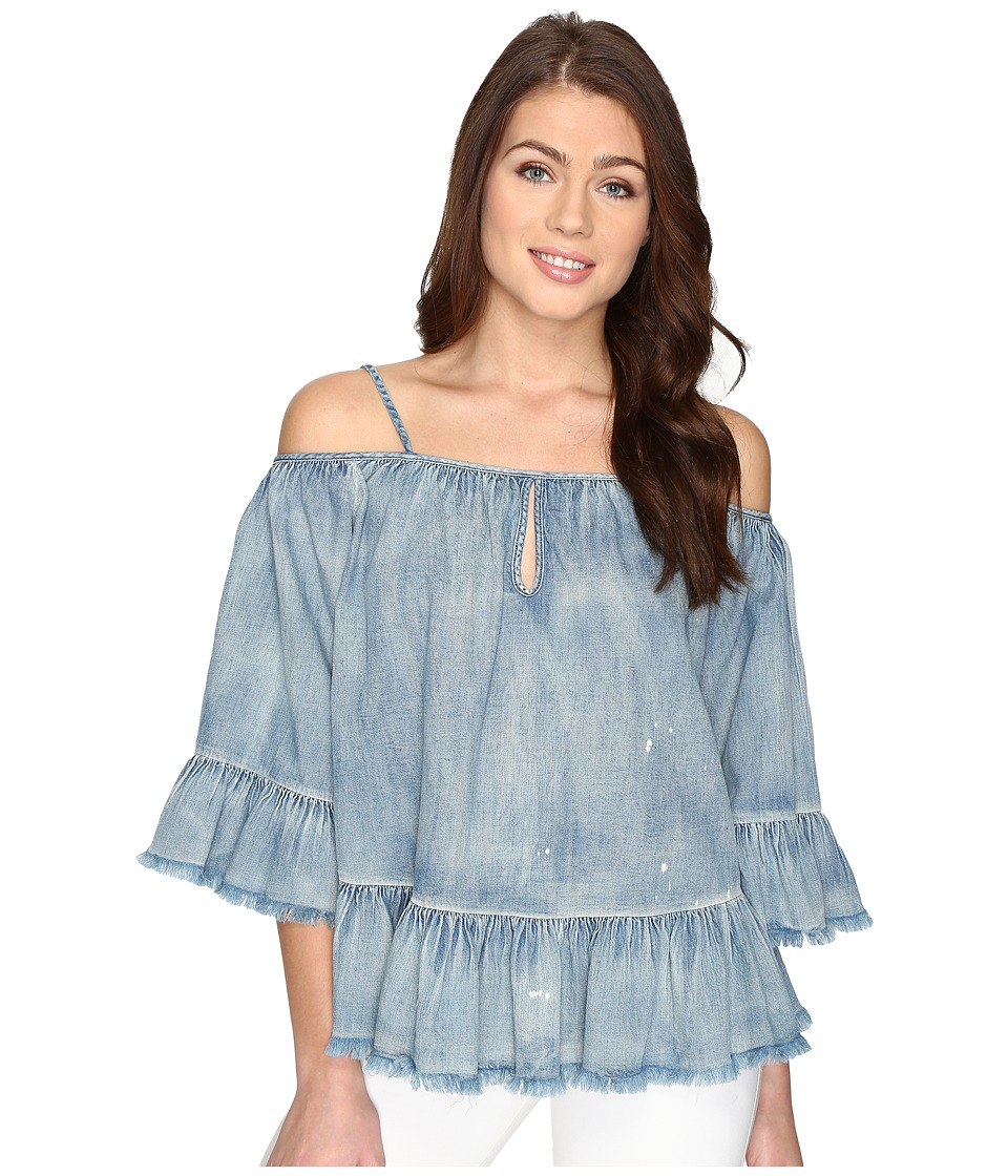 Blank NYC - Off the Shoulder Denim Shirt in Next In Line (Next In Line) Women's Clothing