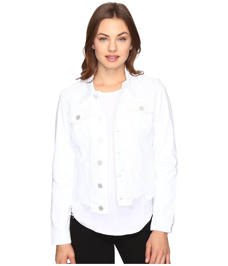 Blank NYC - White Crop Denim Cut Off Detail Jacket in Whisper White (Whisper White) Women's Coat