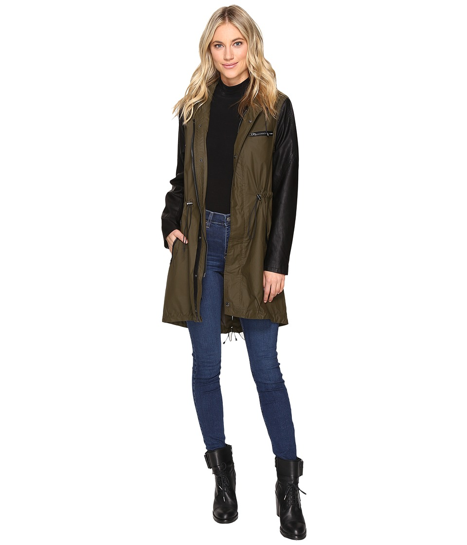 Blank NYC - Olive/Black Vegan Leather Sleeve Trench Coat in Wicked Hard (Wicked Hard) Women's Coat