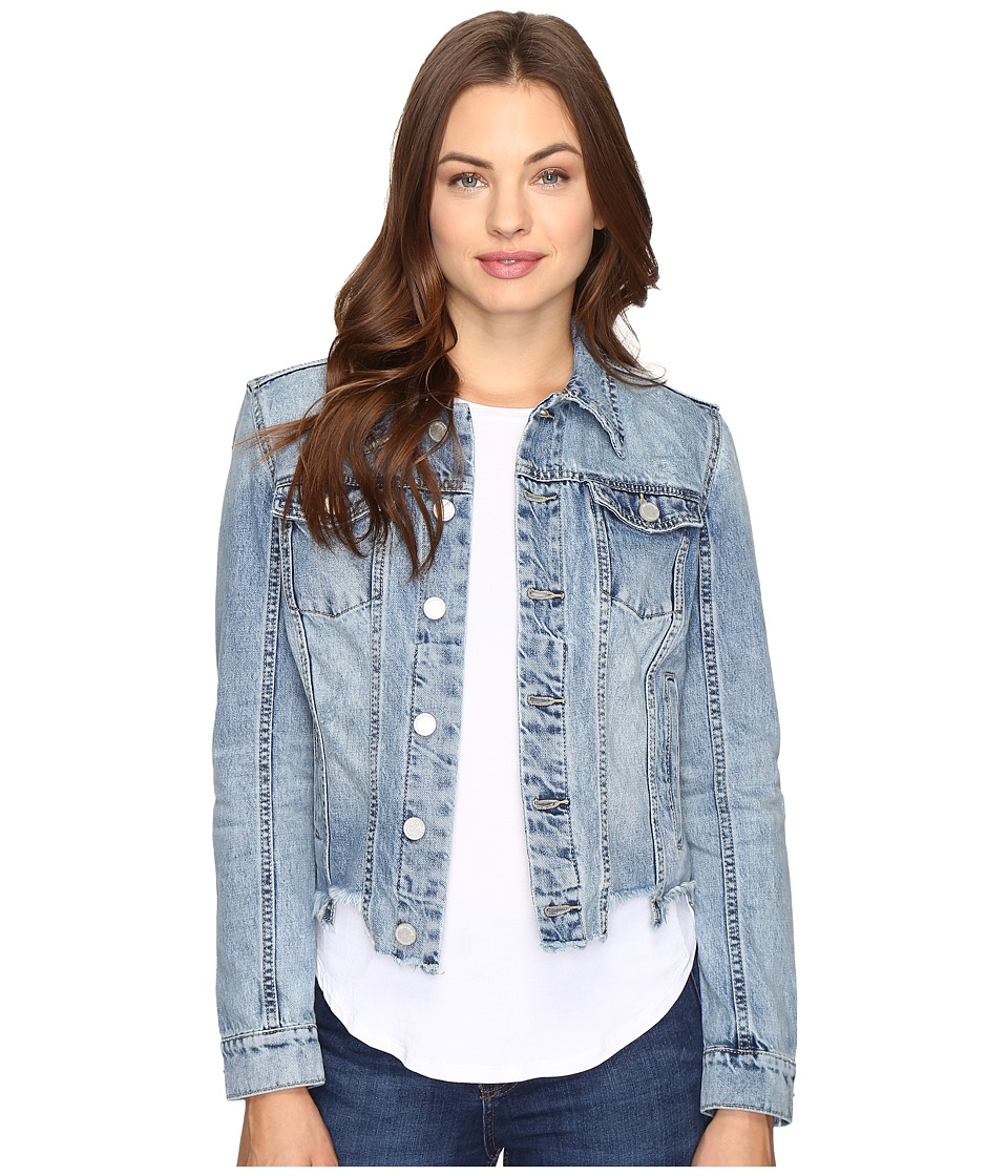Blank NYC - Denim Crop Cut Off Detail Jacket in Shark Bite (Shark Bite) Women's Coat