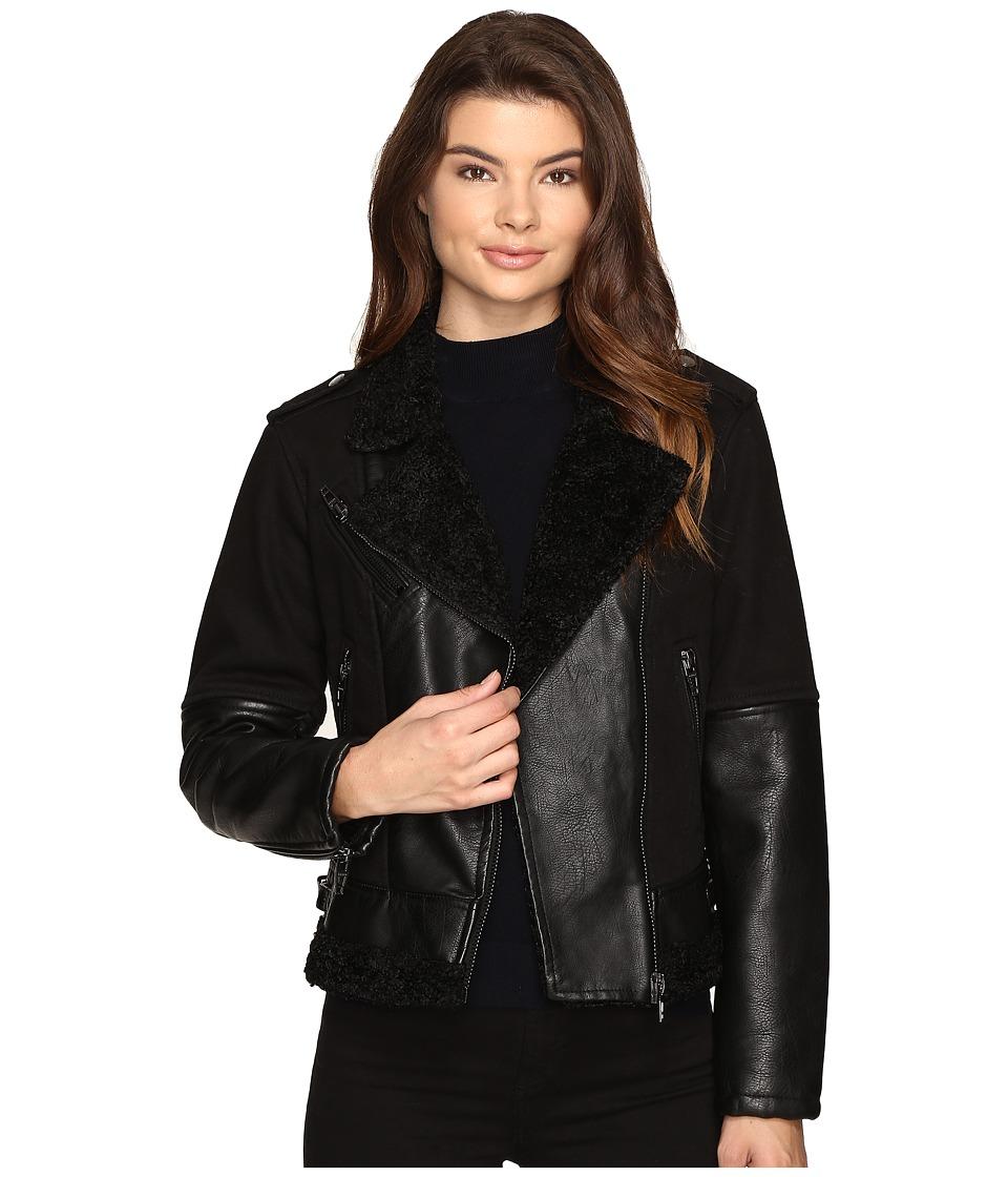 Blank NYC - Black Sherpa Jacket in Natural Disaster (Natural Disaster) Women's Coat