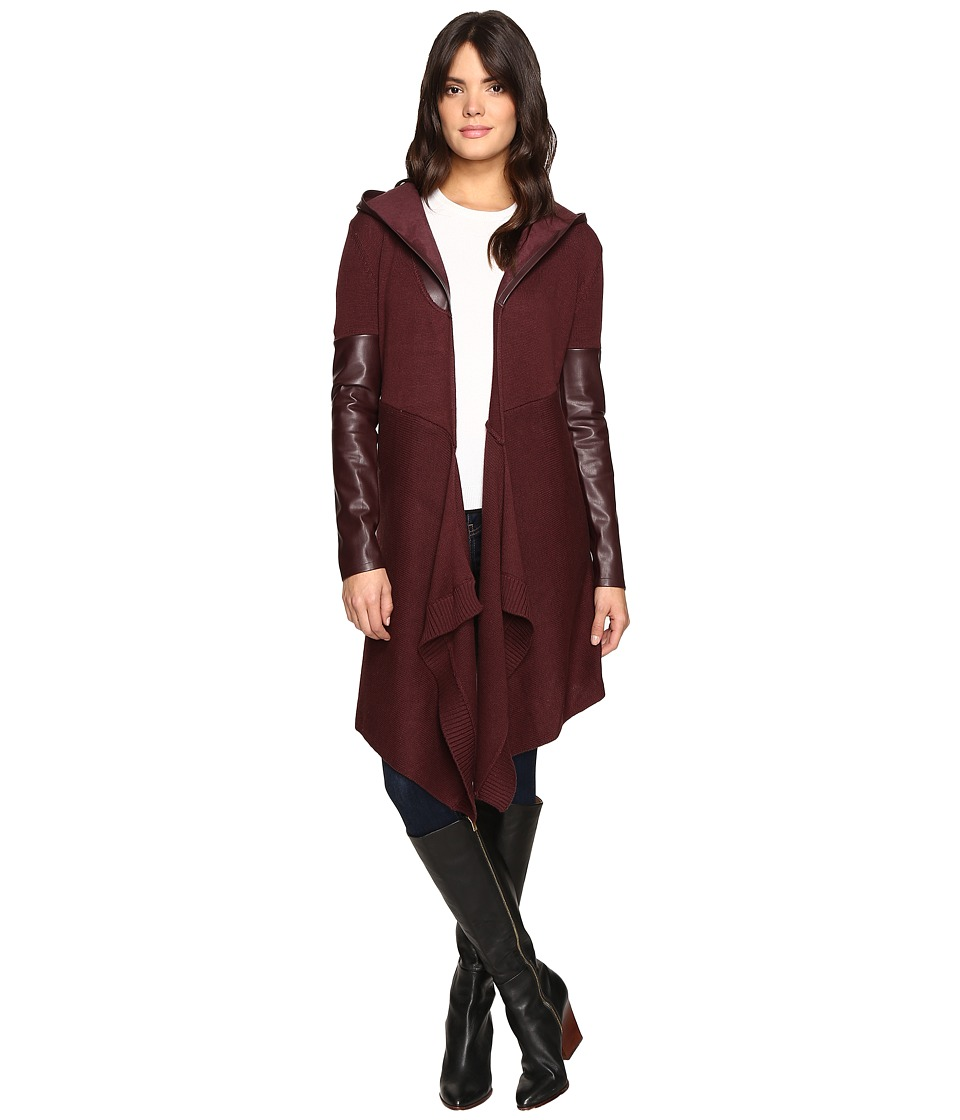 Blank NYC - Sweater with Vegan Leather Sleeves and Hood in Permanent Mark (Permanent Mark) Women's Sweater