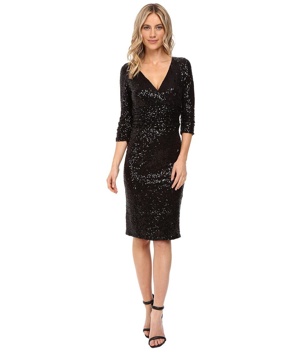 NUE by Shani Cross-Over V-Neckline Sequin Knit Dress (Black) Women