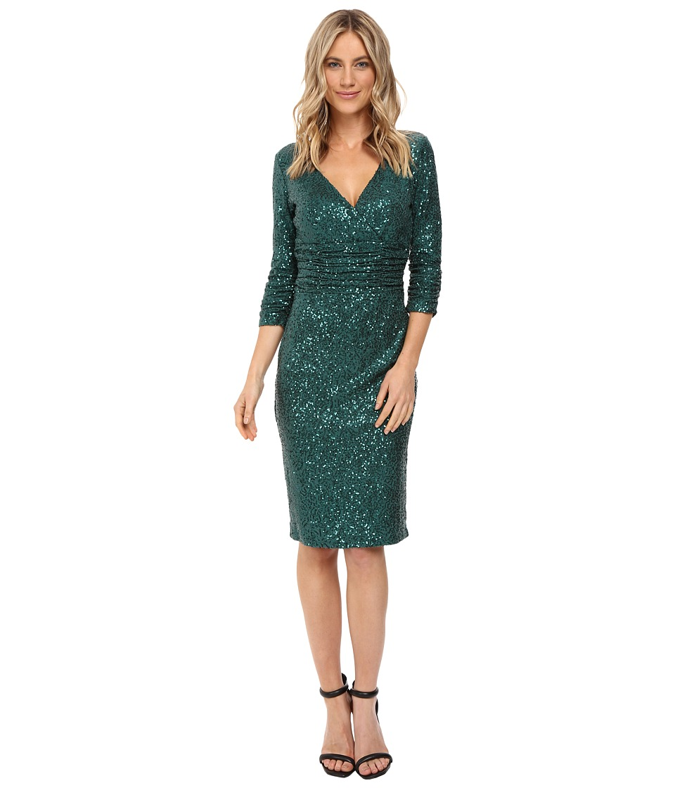 NUE by Shani Cross-Over V-Neckline Sequin Knit Dress (Emerald) Women