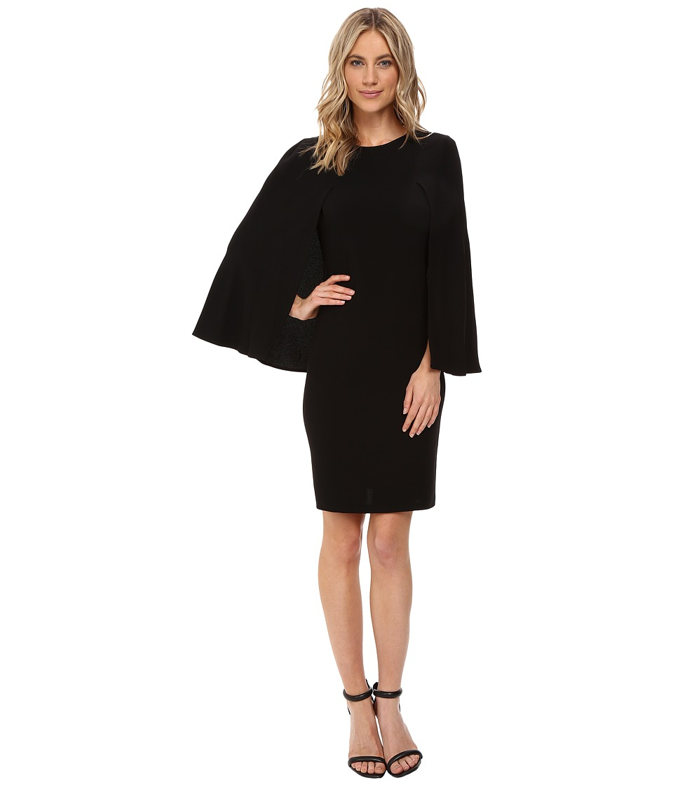 NUE by Shani Crepe Dress with Cape Detail (Black) Women