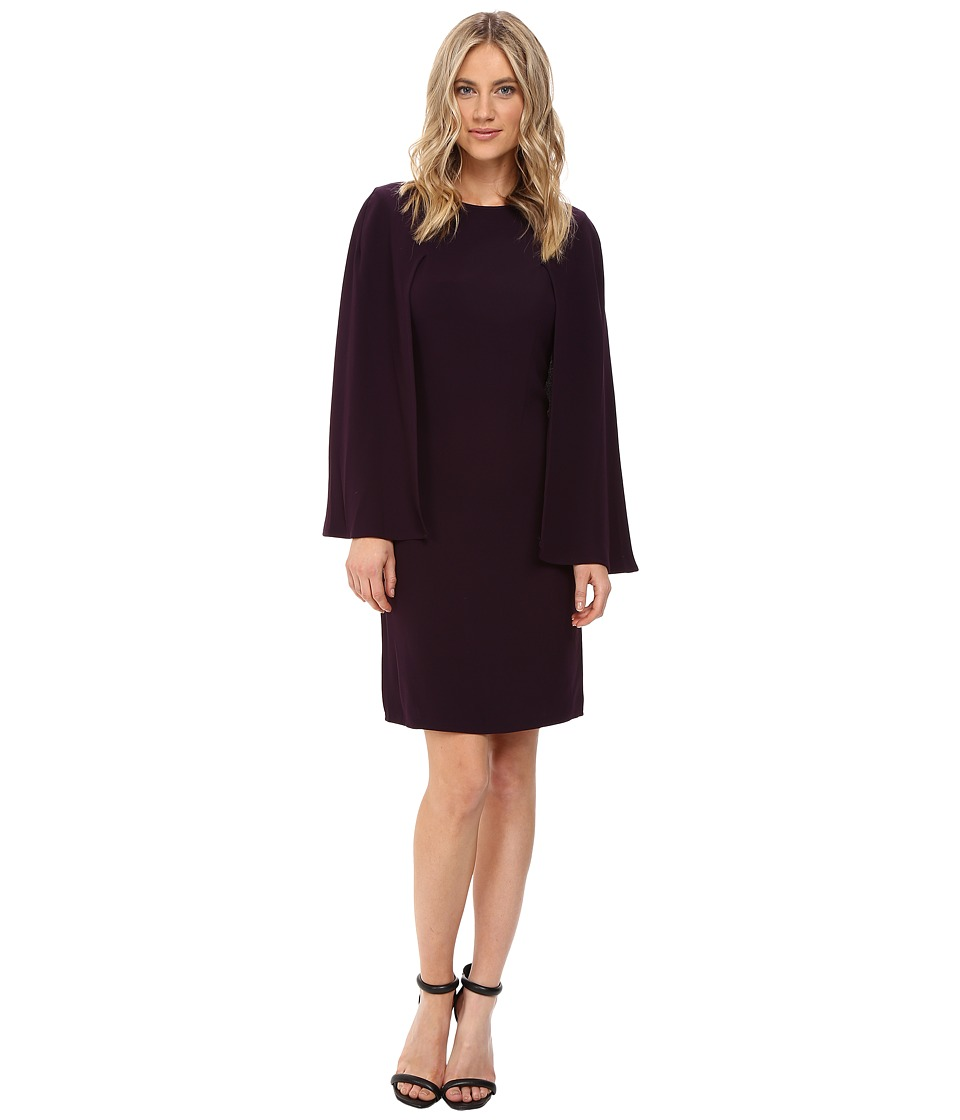 NUE by Shani - Crepe Dress with Cape Detail (Purple Dusk) Women's Dress