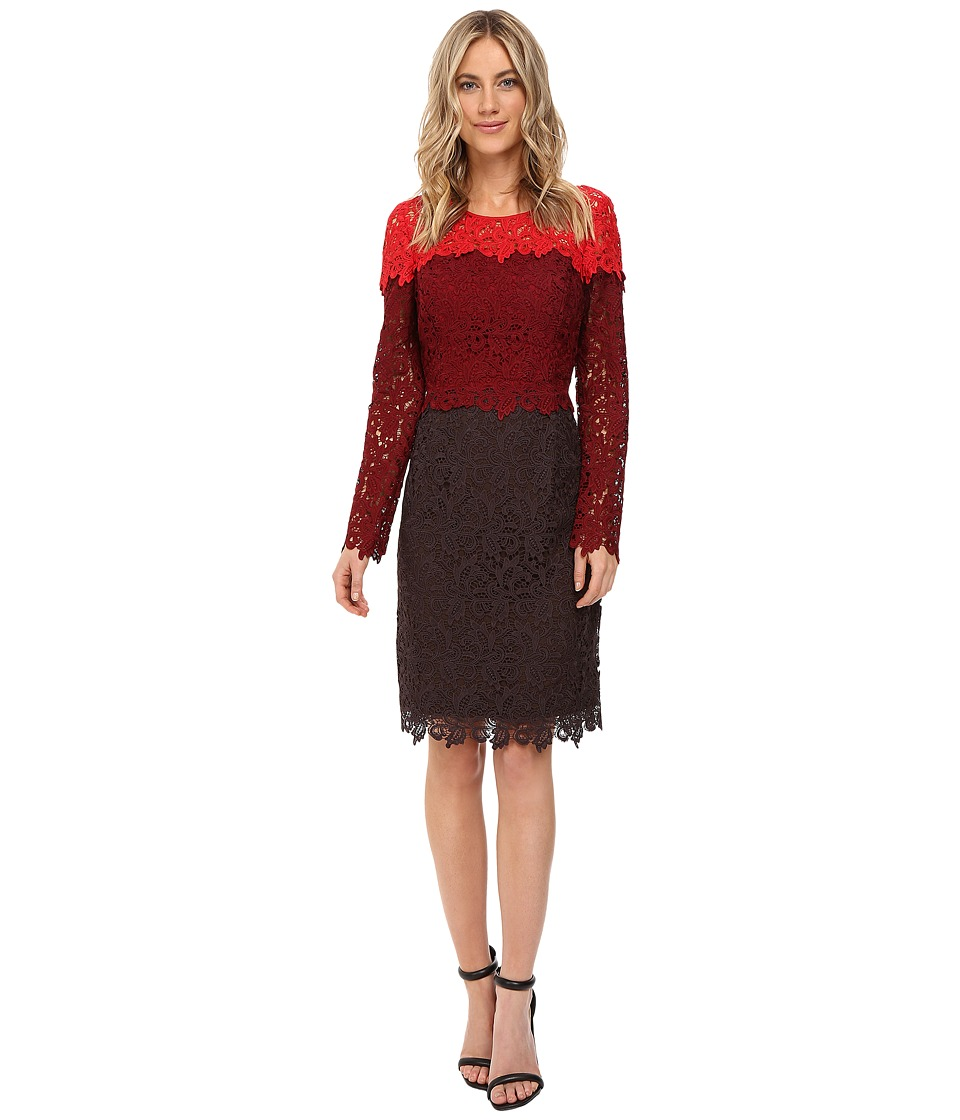 NUE by Shani Tricolor Lace Dress (Red/Wine/Chocolate) Women